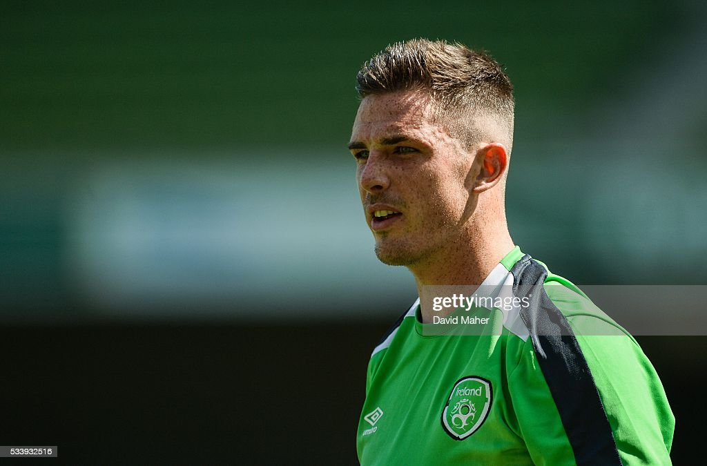 Dublin , Ireland - 24 May 2016; <a gi-track='captionPersonalityLinkClicked' href=/galleries/search?phrase=Ciaran+Clark&family=editorial&specificpeople=4644641 ng-click='$event.stopPropagation()'>Ciaran Clark</a> of the Republic of Ireland during squad training in the Aviva Stadium, Lansdowne Road, Dublin.