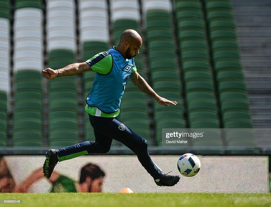 Dublin , Ireland - 24 May 2016; David McGoldrick of the Republic of Ireland during squad training in the Aviva Stadium, Lansdowne Road, Dublin.