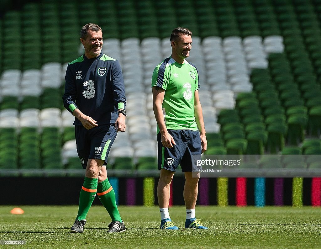 Dublin , Ireland - 24 May 2016; The Republic of Ireland assistant manager Roy Keane, left, with Robbie Keane during squad training in the Aviva Stadium, Lansdowne Road, Dublin.