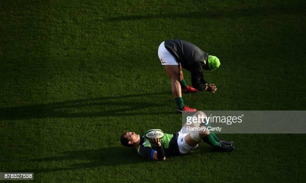 Dublin Ireland 24 November 2017 Bundee Aki above and Rhys Ruddock during Ireland rugby captain's run at the Aviva Stadium in Dublin