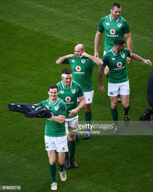 Dublin Ireland 24 November 2017 Jonathan Sexton Peter O'Mahony Rory Best Rob Kearney and CJ Stander during Ireland rugby captain's run at the Aviva...