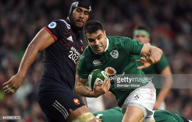Dublin Ireland 25 February 2017 Conor Murray of Ireland attempts to break through the France defence during the RBS Six Nations Rugby Championship...
