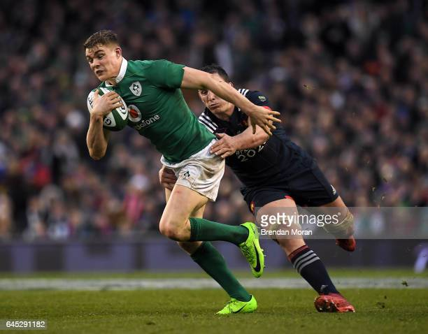 Dublin Ireland 25 February 2017 Garry Ringrose of Ireland makes a break past Louis Picamoles of France during the RBS Six Nations Rugby Championship...