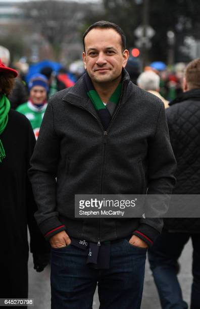 Dublin Ireland 25 February 2017 Minister for Social Protection Leo Varadkar TD makes his way to the stadium prior to the RBS Six Nations Rugby...