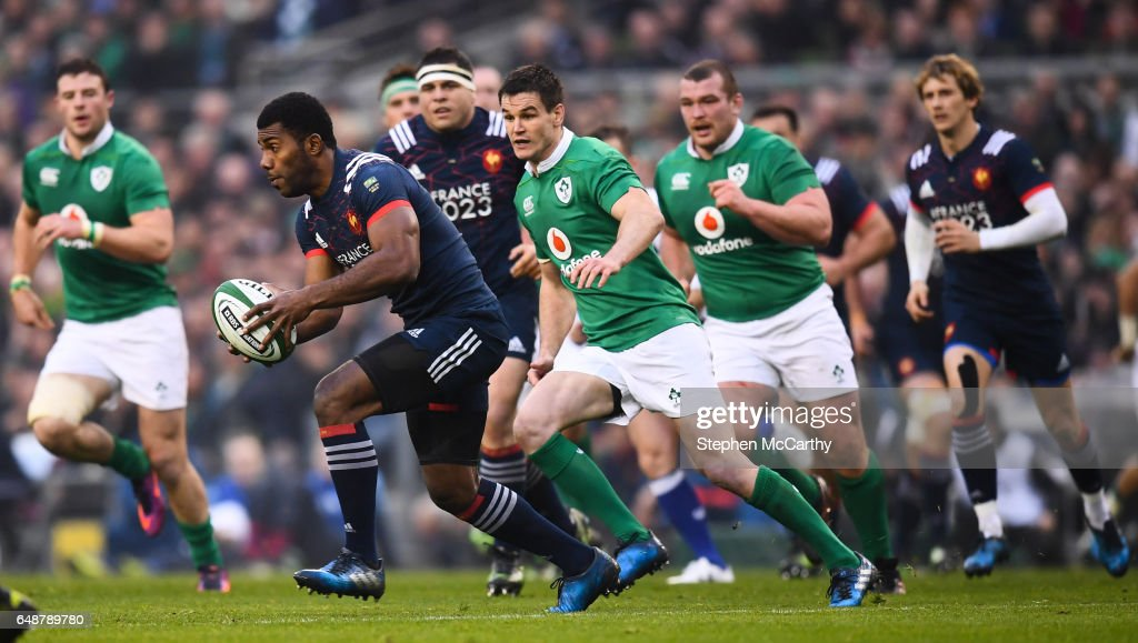 Dublin , Ireland - 25 February 2017; Noa Nakaitaci of France during the RBS Six Nations Rugby Championship game between Ireland and France at the Aviva Stadium in Lansdowne Road, Dublin.