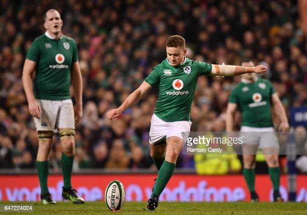 Dublin Ireland 25 February 2017 Paddy Jackson of Ireland during the RBS Six Nations Rugby Championship game between Ireland and France at the Aviva...