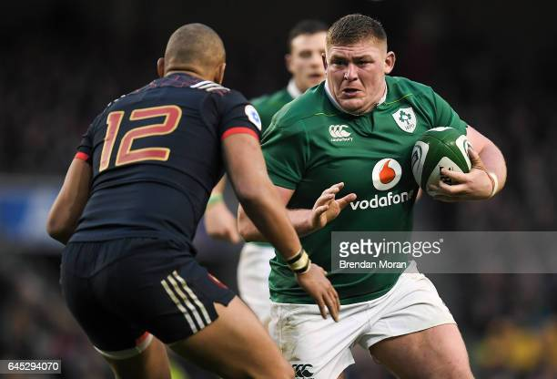 Dublin Ireland 25 February 2017 Tadhg Furlong of Ireland in action against Gael Fickou of France during the RBS Six Nations Rugby Championship game...