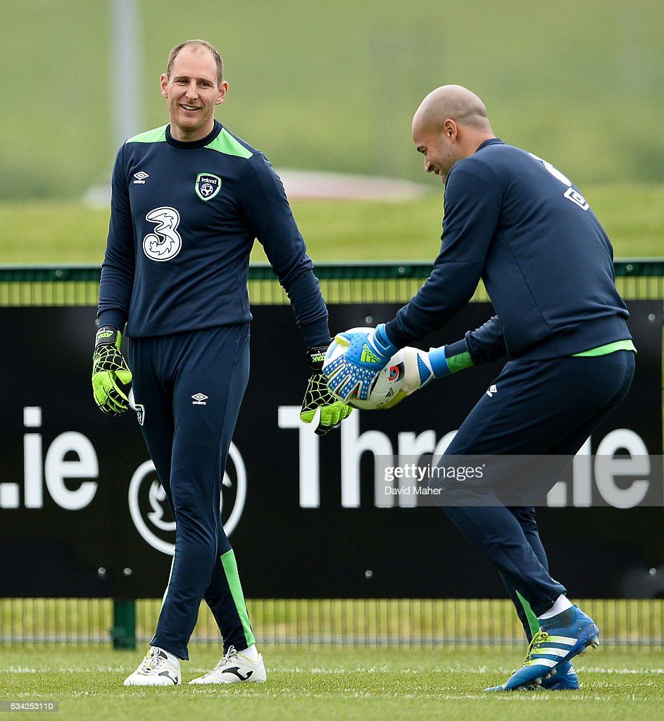 Dublin , Ireland - 25 May 2016; <a gi-track='captionPersonalityLinkClicked' href=/galleries/search?phrase=Darren+Randolph&family=editorial&specificpeople=3947785 ng-click='$event.stopPropagation()'>Darren Randolph</a>, right, of Republic of Ireland and Dundalk FC goalkeeper Gary Rogers during squad training in the National Sports Campus, Abbotstown, Dublin.