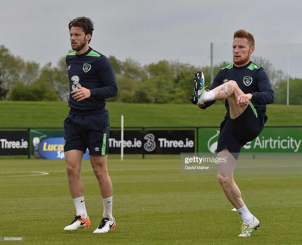 Dublin , Ireland - 25 May 2016; <a gi-track='captionPersonalityLinkClicked' href=/galleries/search?phrase=Harry+Arter&family=editorial&specificpeople=3430393 ng-click='$event.stopPropagation()'>Harry Arter</a>, left, and <a gi-track='captionPersonalityLinkClicked' href=/galleries/search?phrase=Stephen+Quinn+-+Soccer+Player&family=editorial&specificpeople=622061 ng-click='$event.stopPropagation()'>Stephen Quinn</a> of Republic of Ireland during squad training in the National Sports Campus, Abbotstown, Dublin.
