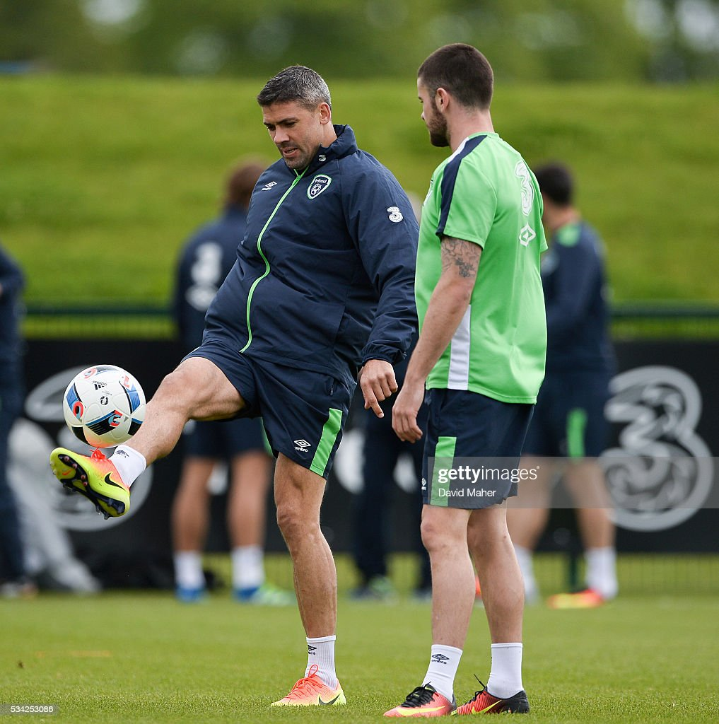Dublin , Ireland - 25 May 2016; <a gi-track='captionPersonalityLinkClicked' href=/galleries/search?phrase=Jonathan+Walters&family=editorial&specificpeople=3389578 ng-click='$event.stopPropagation()'>Jonathan Walters</a>, left, and <a gi-track='captionPersonalityLinkClicked' href=/galleries/search?phrase=Robbie+Brady&family=editorial&specificpeople=9028769 ng-click='$event.stopPropagation()'>Robbie Brady</a> of Republic of Ireland during squad training in the National Sports Campus, Abbotstown, Dublin.