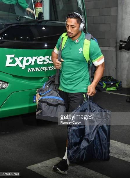 Dublin Ireland 25 November 2017 Bundee Aki of Ireland arrives ahead of the Guinness Series International match between Ireland and Argentina at the...