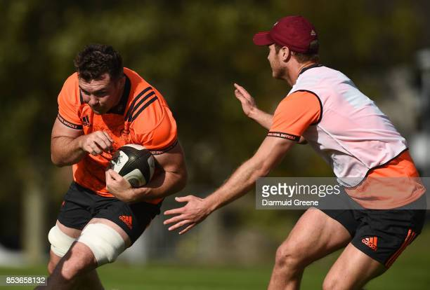 Dublin Ireland 25 September 2017 Peter O'Mahony of Munster in action against Tyler Bleyendaal during Munster Rugby Squad Training at the University...
