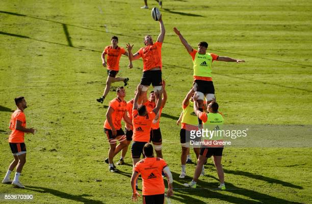 Dublin Ireland 25 September 2017 Peter O'Mahony of Munster wins possession in a lineout ahead of teammate Fineen Wycherley during Munster Rugby Squad...