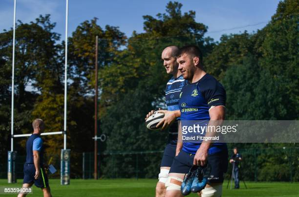 Dublin Ireland 25 September 2017 Sean O'Brien right and Devin Toner of Leinster arrive ahead of squad training at UCD Belfield in Dublin