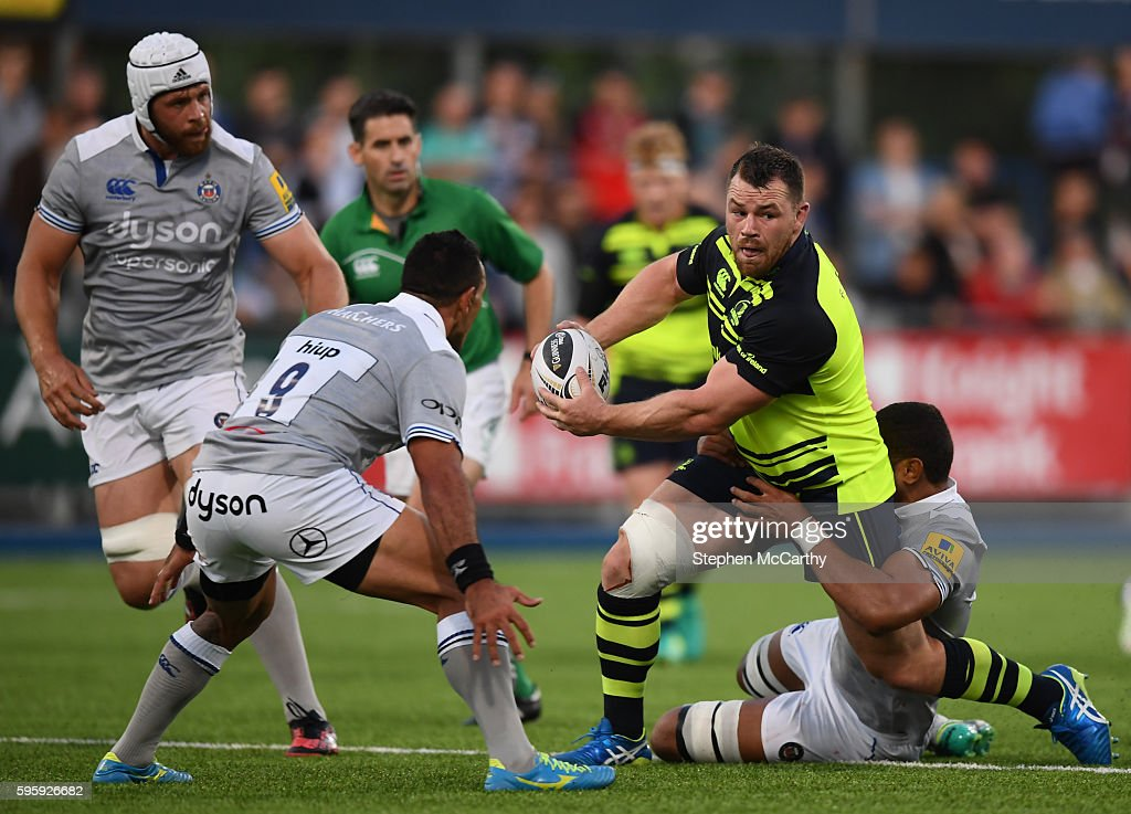 Dublin Ireland 26 August 2016 Cian Healy of Leinster is tackled by Kahn Fotualii of Bath during the PreSeason Friendly match between Leinster and...