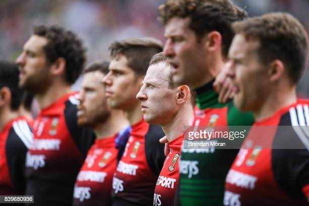 Dublin Ireland 26 August 2017 Colm Boyle of Mayo and his teammates stand for the national anthem before the start of the GAA Football AllIreland...