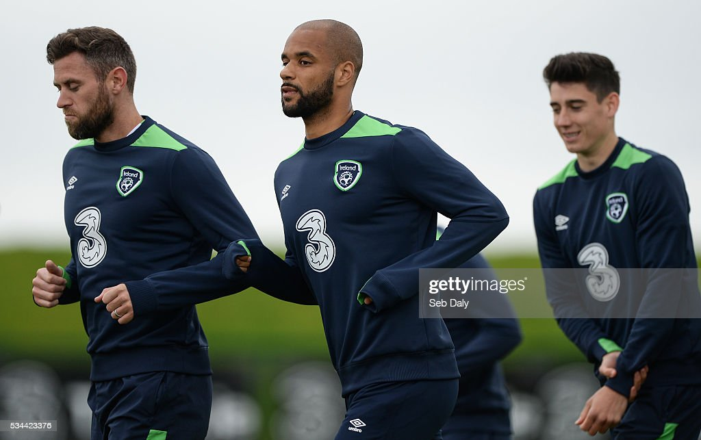 Dublin , Ireland - 26 May 2016; Daryl Murphy, left, and David McGoldrick, right, of Republic of Ireland during squad training in the National Sports Campus, Abbotstown, Dublin.