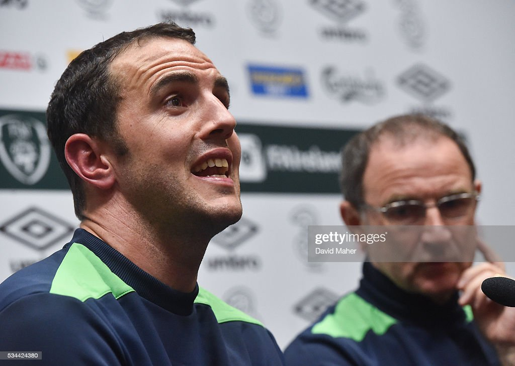 Dublin , Ireland - 26 May 2016; John O'Shea, left, and manager <a gi-track='captionPersonalityLinkClicked' href=/galleries/search?phrase=Martin+O%27Neill&family=editorial&specificpeople=201190 ng-click='$event.stopPropagation()'>Martin O'Neill</a> of Republic of Ireland during a press conference in the National Sports Campus, Abbotstown, Dublin.