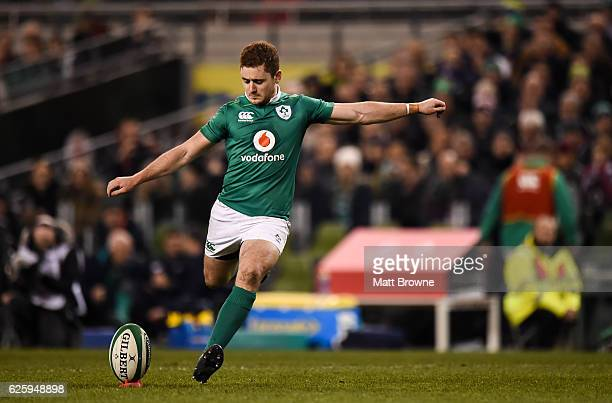 Dublin Ireland 26 November 2016 Paddy Jackson of Ireland kicks a conversion during the Autumn International match between Ireland and Australia at...