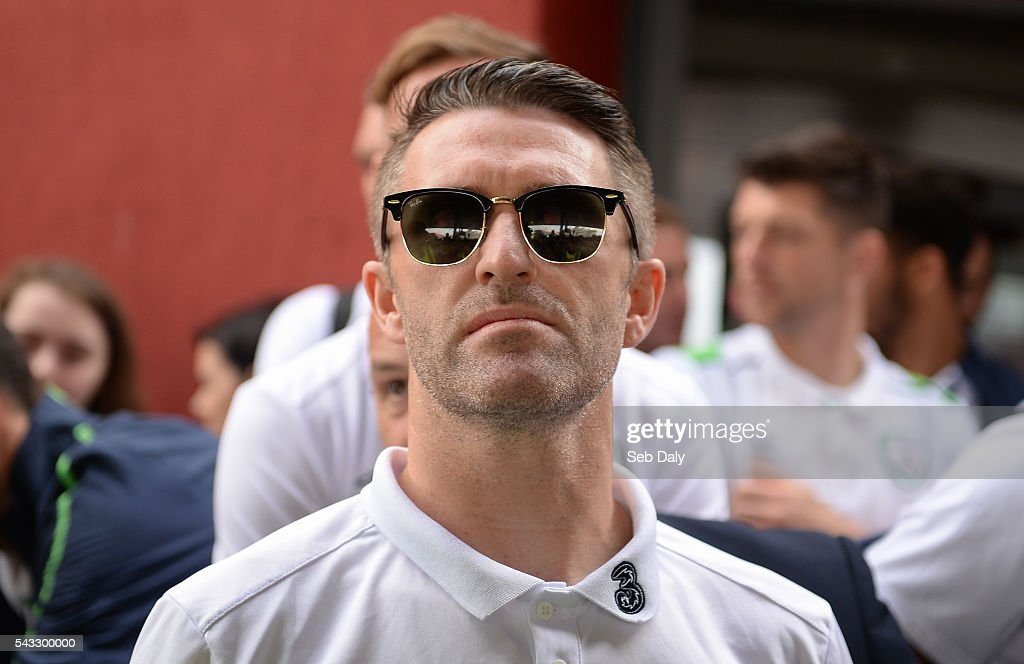 Dublin , Ireland - 27 June 2016; <a gi-track='captionPersonalityLinkClicked' href=/galleries/search?phrase=Robbie+Keane&family=editorial&specificpeople=171824 ng-click='$event.stopPropagation()'>Robbie Keane</a> of Republic of Ireland during their return from UEFA Euro 2016 in France at Dublin Airport, Dublin.