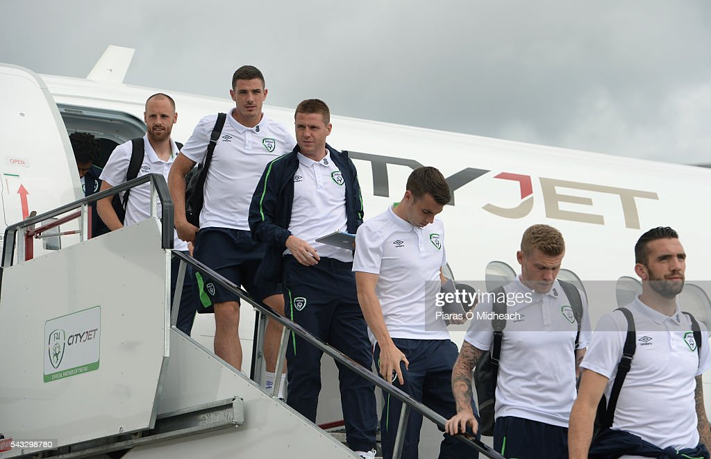 Dublin , Ireland - 27 June 2016; <a gi-track='captionPersonalityLinkClicked' href=/galleries/search?phrase=Shane+Duffy+-+Soccer+Player&family=editorial&specificpeople=16068436 ng-click='$event.stopPropagation()'>Shane Duffy</a>, front, <a gi-track='captionPersonalityLinkClicked' href=/galleries/search?phrase=James+McClean&family=editorial&specificpeople=3699424 ng-click='$event.stopPropagation()'>James McClean</a>, <a gi-track='captionPersonalityLinkClicked' href=/galleries/search?phrase=Seamus+Coleman&family=editorial&specificpeople=6005260 ng-click='$event.stopPropagation()'>Seamus Coleman</a>, <a gi-track='captionPersonalityLinkClicked' href=/galleries/search?phrase=James+McCarthy+-+Soccer+Player&family=editorial&specificpeople=8984734 ng-click='$event.stopPropagation()'>James McCarthy</a>, <a gi-track='captionPersonalityLinkClicked' href=/galleries/search?phrase=Ciaran+Clark&family=editorial&specificpeople=4644641 ng-click='$event.stopPropagation()'>Ciaran Clark</a> and <a gi-track='captionPersonalityLinkClicked' href=/galleries/search?phrase=David+Meyler&family=editorial&specificpeople=5472116 ng-click='$event.stopPropagation()'>David Meyler</a> of Republic of Ireland on their arrival back from UEFA Euro 2016 on CityJet's new Superjet. CityJet is the official partner to the FAI. Dublin Airport, Dublin.
