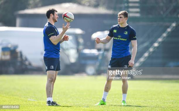 Dublin Ireland 27 March 2017 Leinster centres Robbie Henshaw left and Garry Ringrose during a Leinster rugby squad training session at Rosemount UCD...