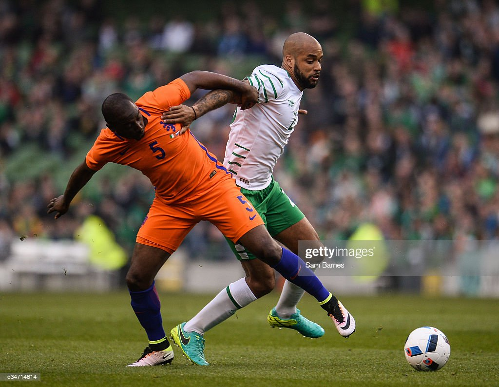 Dublin , Ireland - 27 May 2016; David McGoldrick of Republic of Ireland in action against <a gi-track='captionPersonalityLinkClicked' href=/galleries/search?phrase=Jetro+Willems&family=editorial&specificpeople=7732680 ng-click='$event.stopPropagation()'>Jetro Willems</a> of Netherlands during the 3 International Friendly between Republic of Ireland and Netherlands in the Aviva Stadium, Lansdowne Road, Dublin.