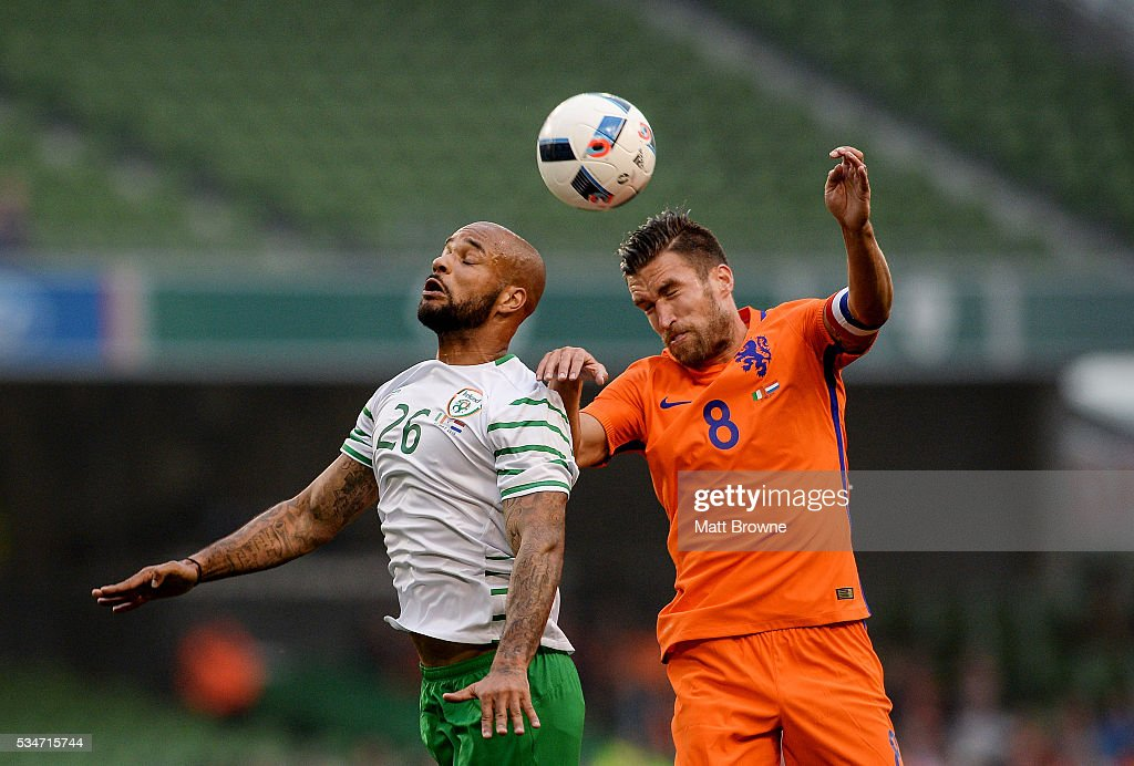 Dublin , Ireland - 27 May 2016; David McGoldrick of Republic of Ireland in action against <a gi-track='captionPersonalityLinkClicked' href=/galleries/search?phrase=Kevin+Strootman&family=editorial&specificpeople=5566501 ng-click='$event.stopPropagation()'>Kevin Strootman</a> of Netherlands during the 3 International Friendly between Republic of Ireland and Netherlands in the Aviva Stadium, Lansdowne Road, Dublin.