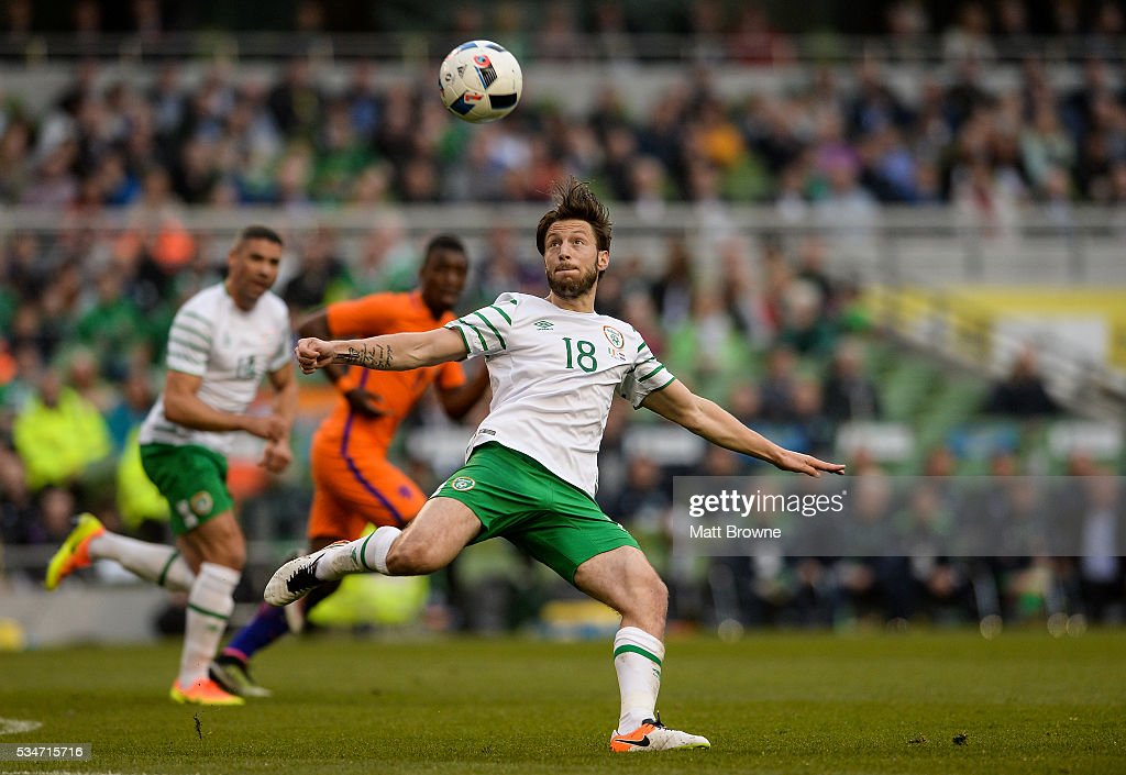 Dublin , Ireland - 27 May 2016; <a gi-track='captionPersonalityLinkClicked' href=/galleries/search?phrase=Harry+Arter&family=editorial&specificpeople=3430393 ng-click='$event.stopPropagation()'>Harry Arter</a> of Republic of Ireland in action against the Netherlands during the 3 International Friendly between Republic of Ireland and Netherlands in the Aviva Stadium, Lansdowne Road, Dublin.