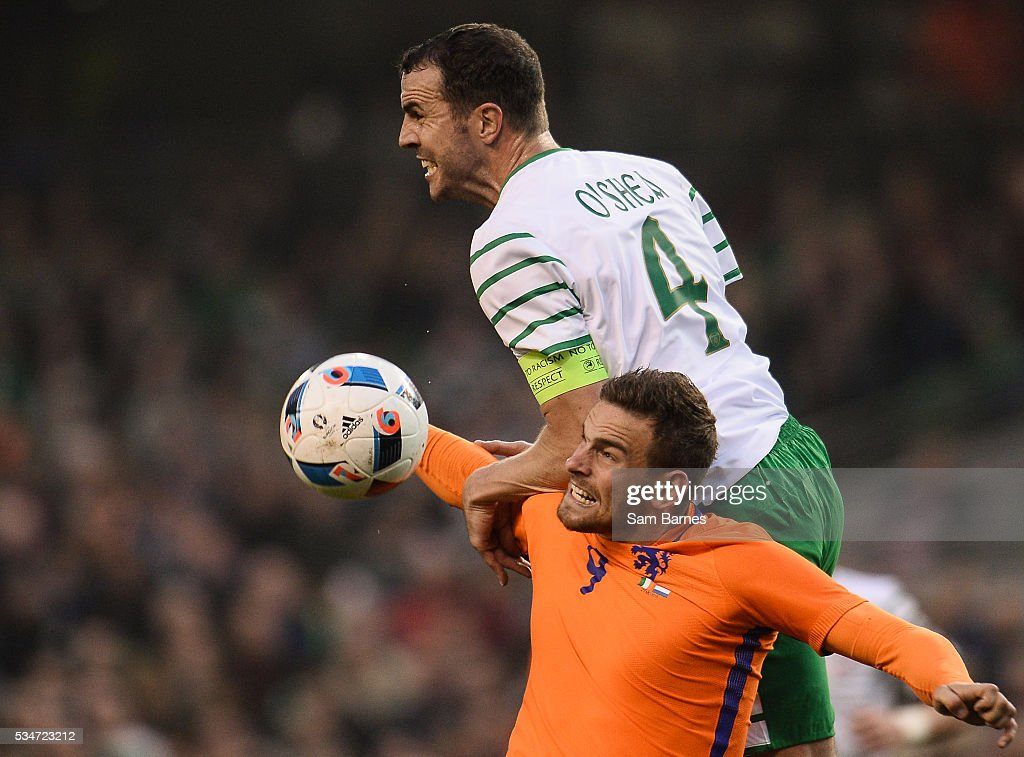 Dublin , Ireland - 27 May 2016; John OShea of Republic of Ireland in action against <a gi-track='captionPersonalityLinkClicked' href=/galleries/search?phrase=Vincent+Janssen&family=editorial&specificpeople=13649812 ng-click='$event.stopPropagation()'>Vincent Janssen</a> of Netherlands during the 3 International Friendly between Republic of Ireland and Netherlands in the Aviva Stadium, Lansdowne Road, Dublin.