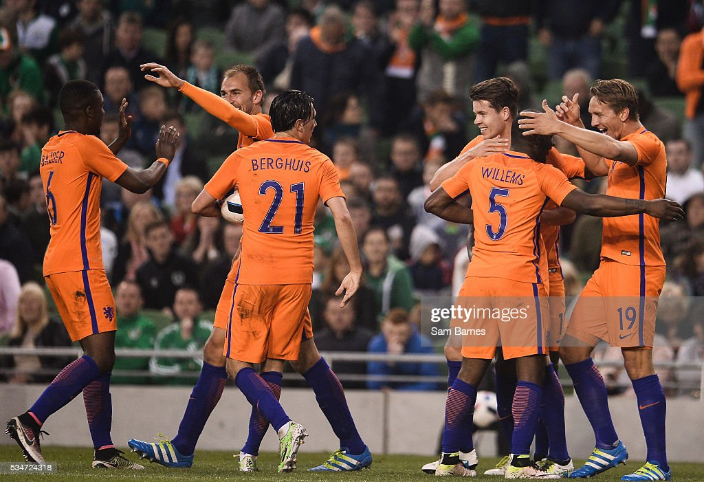 Dublin , Ireland - 27 May 2016; Netherlands players celebrate their first goal scored by <a gi-track='captionPersonalityLinkClicked' href=/galleries/search?phrase=Luuk+De+Jong&family=editorial&specificpeople=6757190 ng-click='$event.stopPropagation()'>Luuk De Jong</a>, right, during the 3 International Friendly between Republic of Ireland and Netherlands in the Aviva Stadium, Lansdowne Road, Dublin.