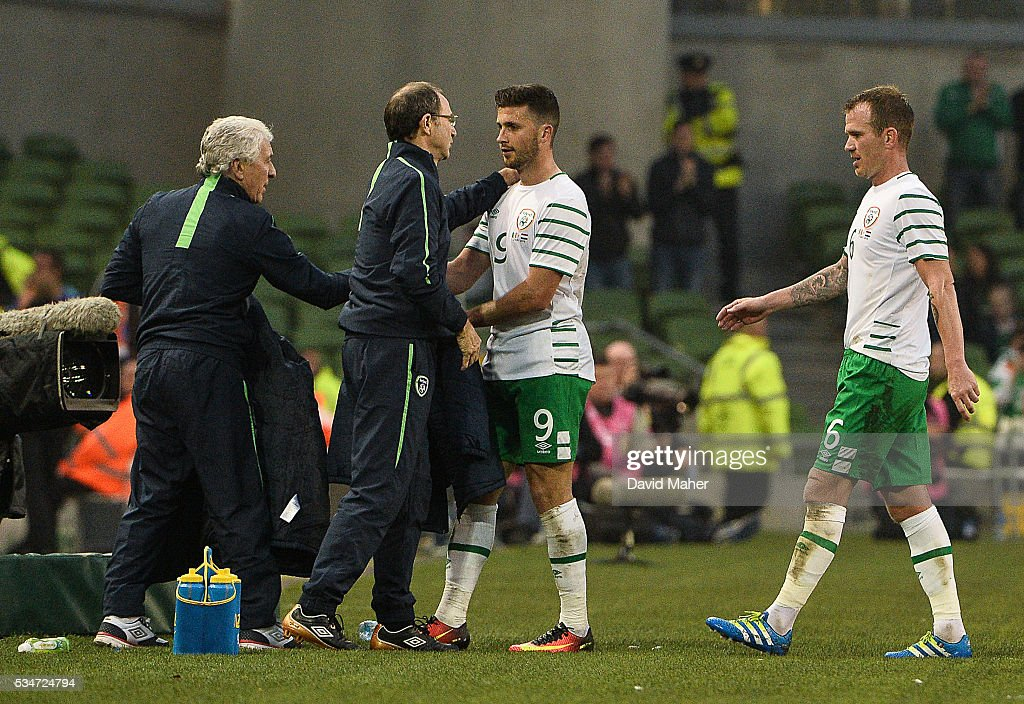 Dublin , Ireland - 27 May 2016; Republic of Ireland manager <a gi-track='captionPersonalityLinkClicked' href=/galleries/search?phrase=Martin+O%27Neill&family=editorial&specificpeople=201190 ng-click='$event.stopPropagation()'>Martin O'Neill</a>, left, with <a gi-track='captionPersonalityLinkClicked' href=/galleries/search?phrase=Shane+Long&family=editorial&specificpeople=661194 ng-click='$event.stopPropagation()'>Shane Long</a> after he was substituted during the 3 International Friendly between Republic of Ireland and Netherlands in the Aviva Stadium, Lansdowne Road, Dublin.