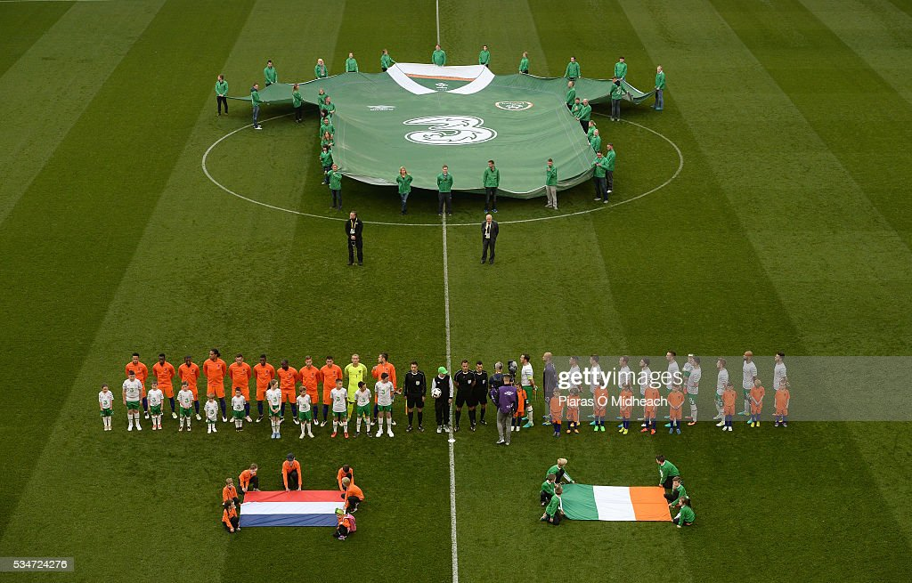 Dublin , Ireland - 27 May 2016; The Republic of Ireland and Netherlands teams stand for the national anthems before the 3 International Friendly between Republic of Ireland and Netherlands in the Aviva Stadium, Lansdowne Road, Dublin.