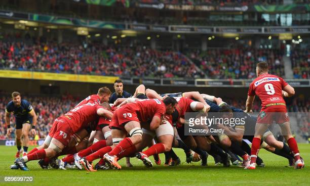 Dublin Ireland 27 May 2017 A general view of a scrum during the Guinness PRO12 Final between Munster and Scarlets at the Aviva Stadium in Dublin