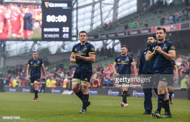 Dublin Ireland 27 May 2017 CJ Stander left and Niall Scannell of Munster applaud supporters after the Guinness PRO12 Final between Munster and...