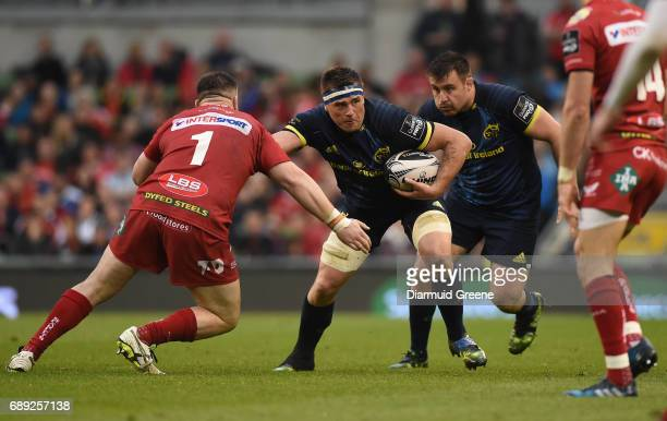 Dublin Ireland 27 May 2017 CJ Stander of Munster in action against Rob Evans of Scarlets during the Guinness PRO12 Final between Munster and Scarlets...