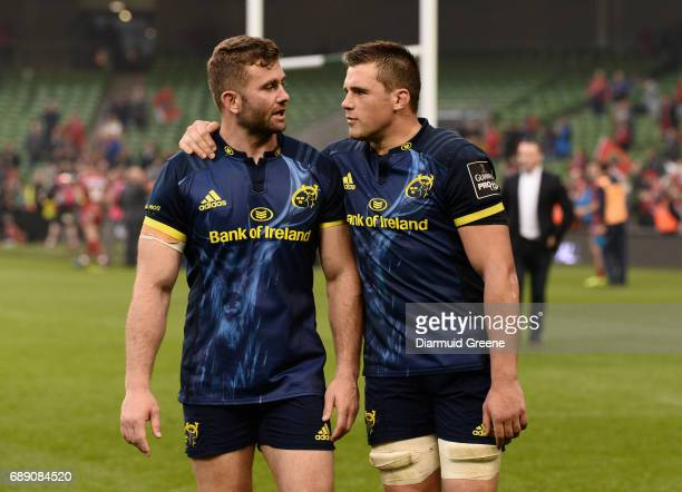 Dublin Ireland 27 May 2017 Jaco Taute left and CJ Stander of Munster in conversation after the Guinness PRO12 Final between Munster and Scarlets at...