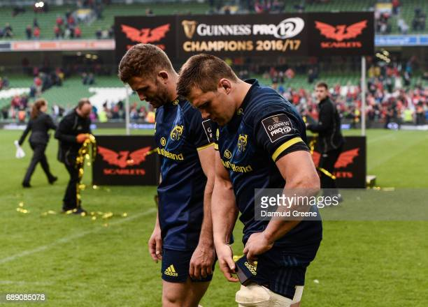 Dublin Ireland 27 May 2017 Jaco Taute left and CJ Stander of Munster after the Guinness PRO12 Final between Munster and Scarlets at the Aviva Stadium...