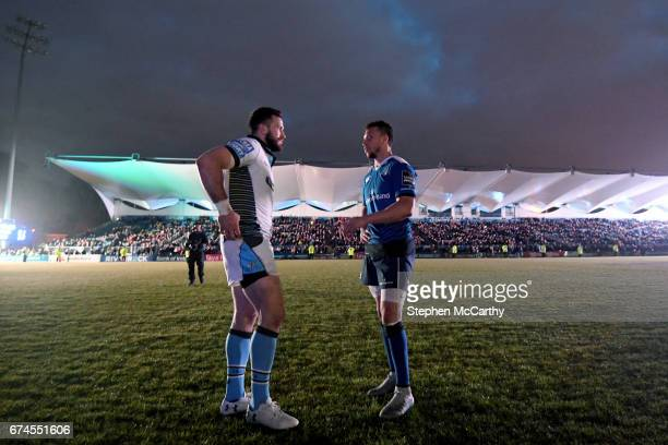 Dublin Ireland 28 April 2017 Alex Dunbar left of Glasgow Warriors and Zane Kirchner of Leinster after a power failure during the Guinness PRO12 Round...