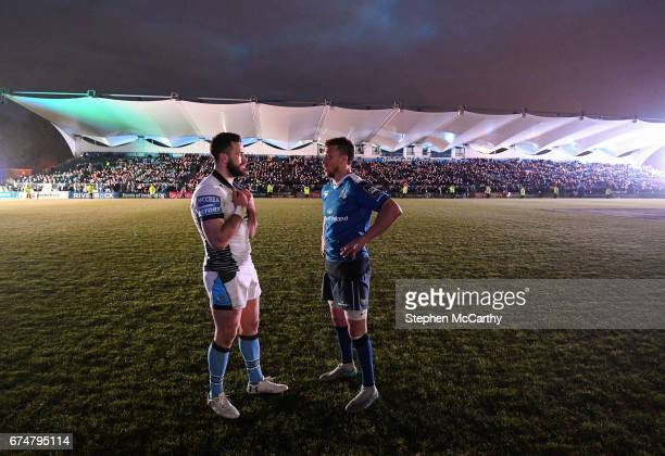Dublin Ireland 28 April 2017 Alex Dunbar of Glasgow Warriors and Zane Kirchner of Leinster after a power failure during the Guinness PRO12 Round 21...