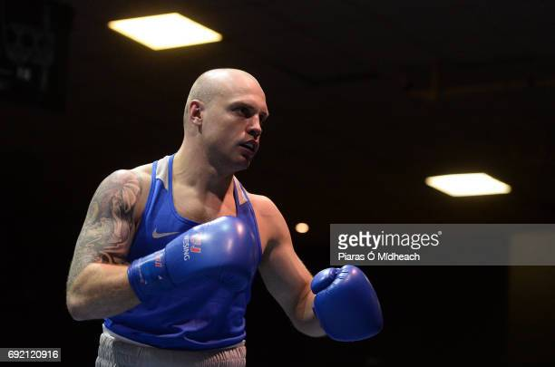 Dublin Ireland 28 April 2017 Artem Zaitsev of Russia during the 69kg bout against Steven Donnelly of Ireland at the Elite International Boxing...