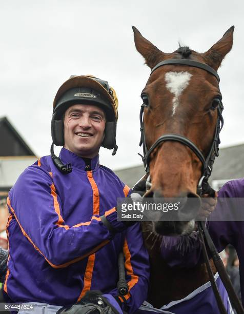 Dublin Ireland 28 April 2017 Jockey Patrick Mullins with Wicklow Brave after winning the BETDAQ Punchestown Champion Hurdle at Punchestown Racecourse...