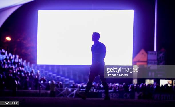 Dublin Ireland 28 April 2017 Joey Carbery of Leinster is illuminated by a big screen during a power failure of the floodlights during the Guinness...