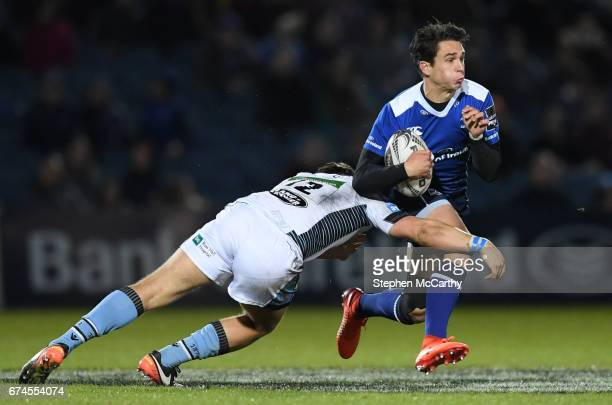 Dublin Ireland 28 April 2017 Joey Carbery of Leinster is tackled by Sam Johnson of Glasgow Warriors during the Guinness PRO12 Round 21 match between...