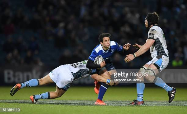 Dublin Ireland 28 April 2017 Joey Carbery of Leinster is tackled by Sam Johnson left and Tim Swinson of Glasgow Warriors during the Guinness PRO12...