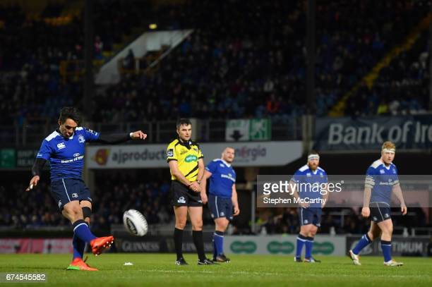 Dublin Ireland 28 April 2017 Joey Carbery of Leinster kicks a penalty during the Guinness PRO12 Round 21 match between Leinster and Glasgow Warriors...