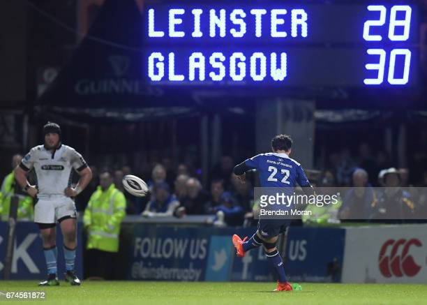 Dublin Ireland 28 April 2017 Joey Carbery of Leinster kicks the winning penalty during the Guinness PRO12 Round 21 match between Leinster and Glasgow...