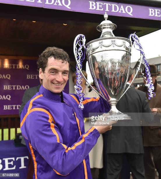Dublin Ireland 28 April 2017 Patrick Mullins with the cup after winning the BETDAQ Punchestown Champion Handicap at Punchestown Racecourse in Naas Co...