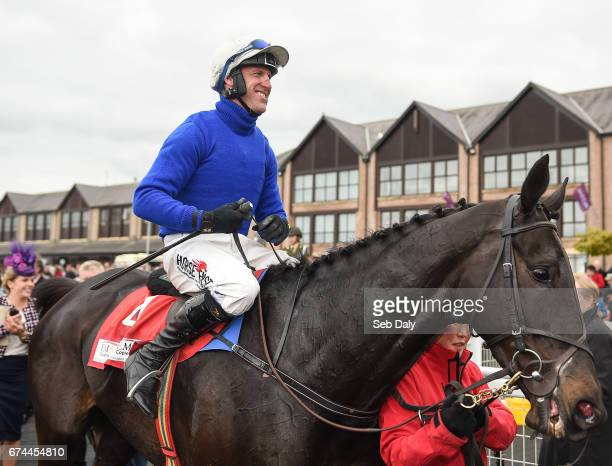 Dublin Ireland 28 April 2017 Robbie Power makes his way to the winners' enclosure on Woodland Opera after winning the EMS Copiers Novice Handicap...