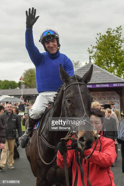 Dublin Ireland 28 April 2017 Robbie Power on Woodland Opera after winning the EMS Copiers Novice Handicap Steeplechase at Punchestown Racecourse in...